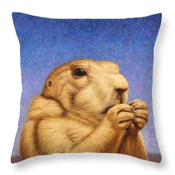Prairie Dog Throw Pillow by James W Johnson