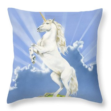 Prancing Unicorn Throw Pillow by Irvine Peacock