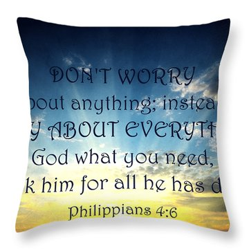 Pray About Everything 2 Throw Pillow by Angelina Vick