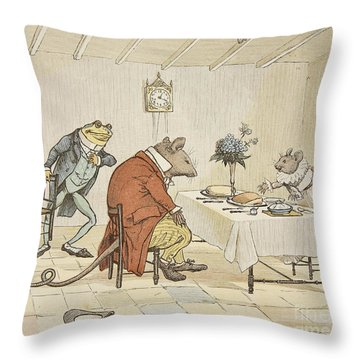 Pray Miss Mouse Will You Give Us Some Beer Throw Pillow by Randolph Caldecott