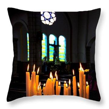 Prayers In Gualaceo Ecuador Throw Pillow by Al Bourassa