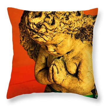 Praying Angel Throw Pillow by Susanne Van Hulst