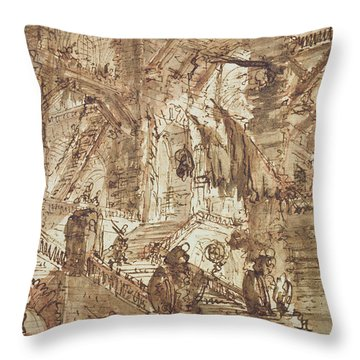 Preparatory Drawing For Plate Number Viii Of The Carceri Al'invenzione Series Throw Pillow by Giovanni Battista Piranesi