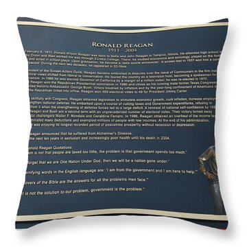 President Ronald Reagan Plaque Throw Pillow by Thomas Woolworth