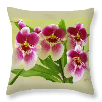 Pretty Faces - Orchid Throw Pillow by Ben and Raisa Gertsberg