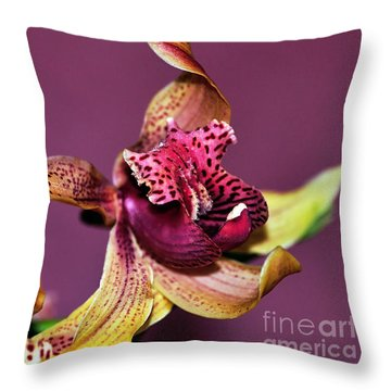 Pretty Orchid On Pink Throw Pillow by Kaye Menner