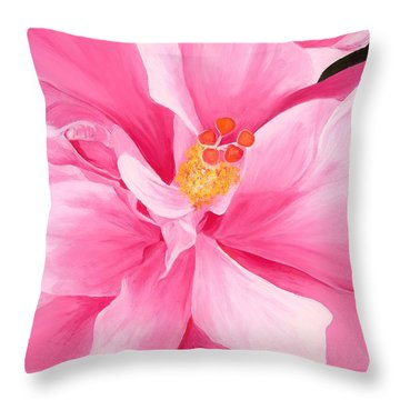 Pretty Pink Hibiscus Painting Throw Pillow by Lisa Bentley