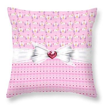 Pretty Pink Princess Throw Pillow by Debra  Miller