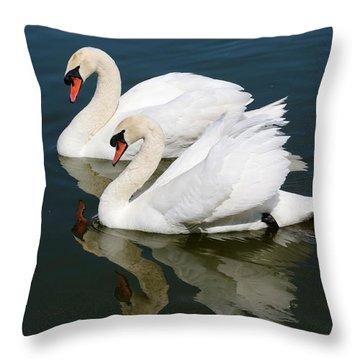 Pretty Swan Pair Throw Pillow by Carol Groenen