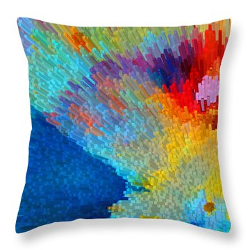 Primary Joy - Abstract Art By Sharon Cummings Throw Pillow by Sharon Cummings