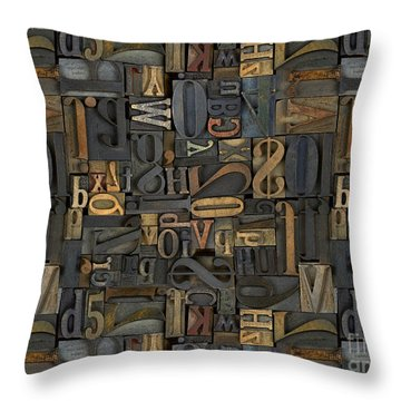 Printing Letters 1 Throw Pillow by Bedros Awak