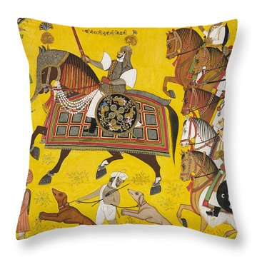 Processional Portrait Of Prince Bhawani Sing Of Sitamau Throw Pillow by Pyara Singh
