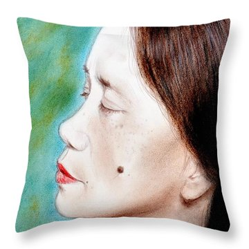 Profile Of A Filipina Beauty With A Mole On Her Cheek  Throw Pillow by Jim Fitzpatrick