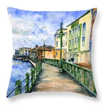 Promenade In Barbados Throw Pillow by John D Benson