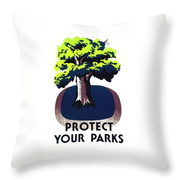 Protect Your Parks Wpa Throw Pillow by War Is Hell Store