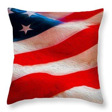 Proud To Be American Throw Pillow by Jon Neidert