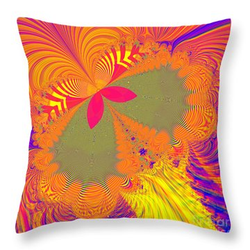 Psychedelic Butterfly Explosion Fractal 61 Throw Pillow by Rose Santuci-Sofranko