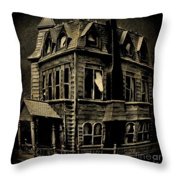 Psycho Mansion Throw Pillow by John Malone
