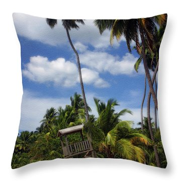 Puerto Rico Palms II Throw Pillow by Madeline Ellis