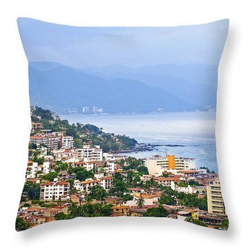 Puerto Vallarta On Mexican Coast Throw Pillow by Elena Elisseeva