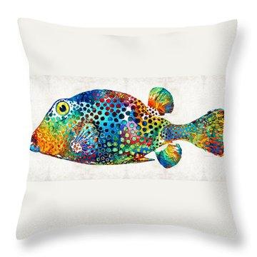 Puffer Fish Art - Puff Love - By Sharon Cummings Throw Pillow by Sharon Cummings