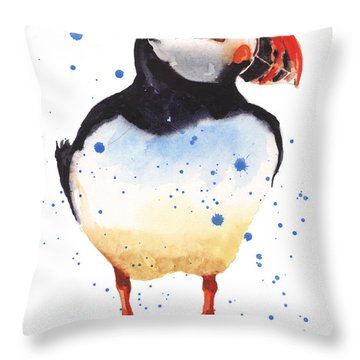 Puffin Watercolor Throw Pillow by Alison Fennell