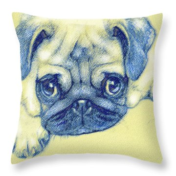 Pug Puppy Pastel Sketch Throw Pillow by Jane Schnetlage