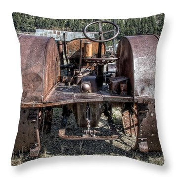 Pulling End Of Mccormick-deering Tractor Throw Pillow by Daniel Hagerman