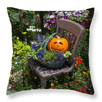 Pumpkin In Basket On Chair Throw Pillow by Garry Gay