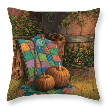 Pumpkins And Patches Throw Pillow by Michael Humphries