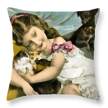 Puppies Kittens And Baby Girl Throw Pillow by Vintage Trading Cards