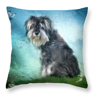 Puppy Explores The World Throw Pillow by Gun Legler