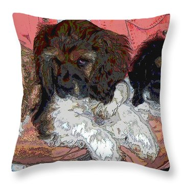 Puppy Love  Sugar         Little Bear And Peanut Throw Pillow by Debbie Portwood