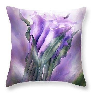 Purple Callas In Calla Vase Throw Pillow by Carol Cavalaris