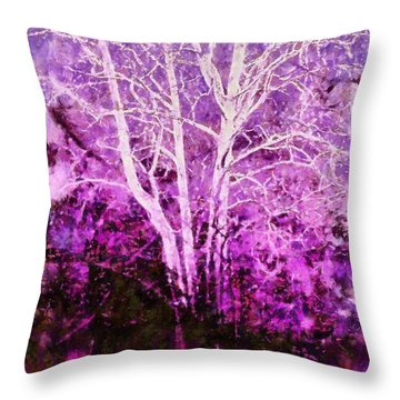 Purple Forest Fantasy Throw Pillow by Janine Riley