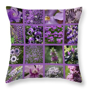 Purple In Nature Collage Throw Pillow by Carol Groenen