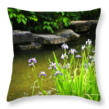 Purple Irises In Pond Throw Pillow by Elena Elisseeva