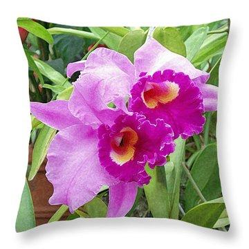 Purple Cattleya Orchids Throw Pillow by Ellen Henneke