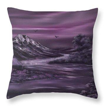Purple Rain 2 Throw Pillow by Cynthia Adams