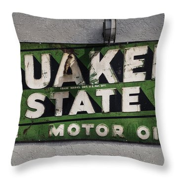 Quaker State Motor Oil Throw Pillow by Janice Rae Pariza
