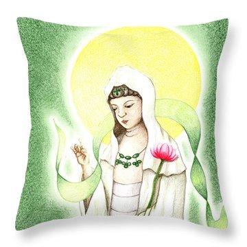 Quan Yin Throw Pillow by Keiko Katsuta