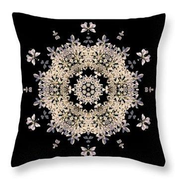 Queen Anne's Lace Flower Mandala Throw Pillow by David J Bookbinder