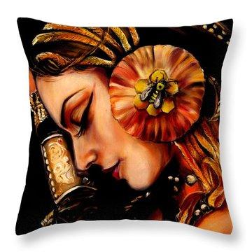 Queen Bee Throw Pillow by Em Kotoul