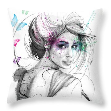 Queen Of Butterflies Throw Pillow by Olga Shvartsur