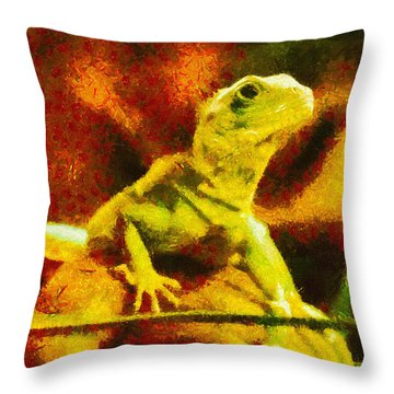 Queen Of The Reptiles Throw Pillow by Ayse Deniz