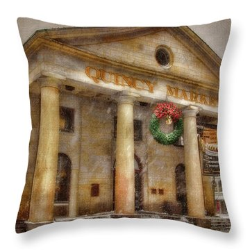 Quincy Market Snow 2 Throw Pillow by Joann Vitali