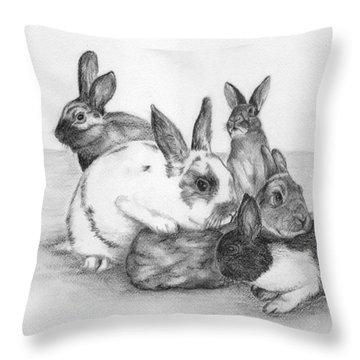 Rabbits Rabbits And More Rabbits Throw Pillow by Nan Wright