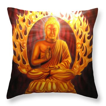 Radiant Buddha  Throw Pillow by Ethan  Foxx