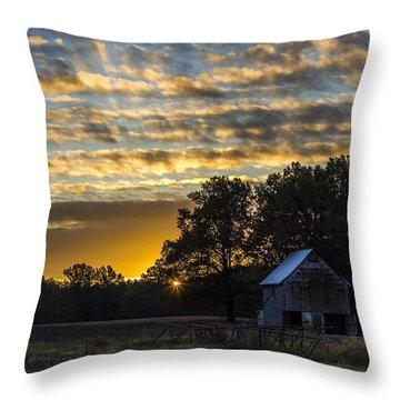 Radiating Sunrise Throw Pillow by Amber Kresge