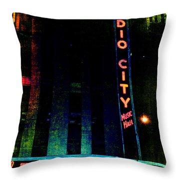 Radio City Grunge Throw Pillow by Joann Vitali